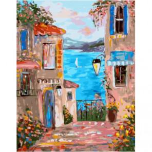 Переулок с видом на море Раскраска картина по номерам на холсте