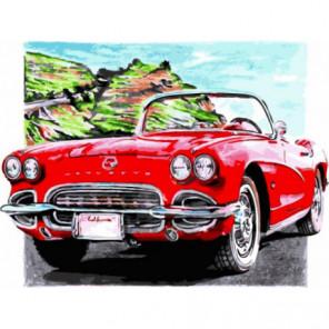 Красный кабриолет Раскраска картина по номерам на холсте