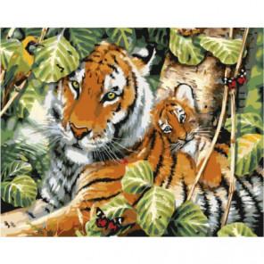 Тигрица с малышом Раскраска картина по номерам на холсте