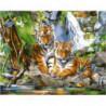 Тигрята у воды Раскраска картина по номерам на холсте