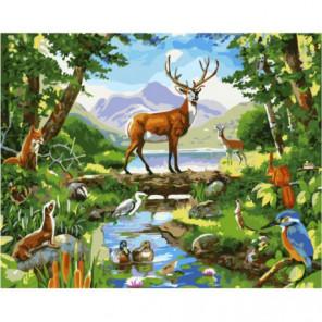 Обитатели леса Раскраска картина по номерам на холсте
