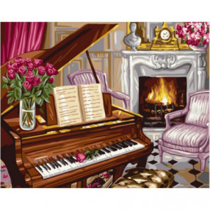 Вечер у камина Раскраска картина по номерам на холсте