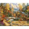 Осенний домик лесника Раскраска картина по номерам на холсте