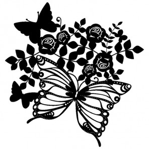 Бабочки и розы Трафарет-силуэт Marabu ( Марабу )