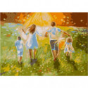 Летняя прогулка с семьей Раскраска картина по номерам на холсте