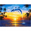 Дельфины на закате Раскраска картина по номерам на холсте