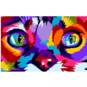 Радужная мордочка кота Раскраска картина по номерам на холсте