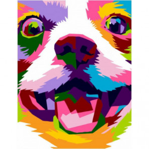 Радужный улыбчивый пес Раскраска картина по номерам на холсте