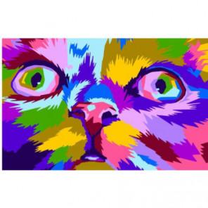 Радужный задумчивый кот Раскраска картина по номерам на холсте