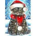 Новогодний котик Алмазная вышивка мозаика Гранни AG2447