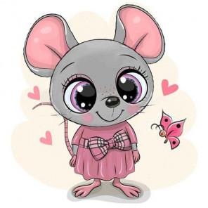 Мышка в платье Алмазная вышивка мозаика Гранни AG2458