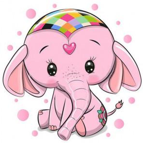 Розовый слоник Алмазная вышивка мозаика Гранни AG2462