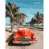 Красный авто и пальмы Раскраска картина по номерам на холсте