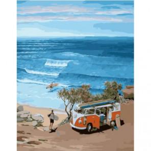 Автобус сёрфингистов Раскраска картина по номерам на холсте