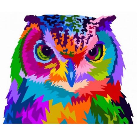 Радужная сова Раскраска картина по номерам на холсте ...