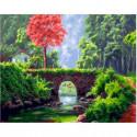 Каменный мостик Раскраска картина по номерам на холсте