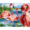 Фламинго в воде Раскраска картина по номерам на холсте