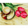 Тюльпаны и чашечка кофе Раскраска картина по номерам на холсте