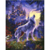 Волк у сказочного замка Раскраска картина по номерам на холсте