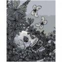 Череп с цвeтами и бабoчками Раскраска картина по номерам на холсте