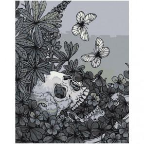 Череп с цвeтами и бабoчками 80х100 Раскраска картина по номерам на холсте