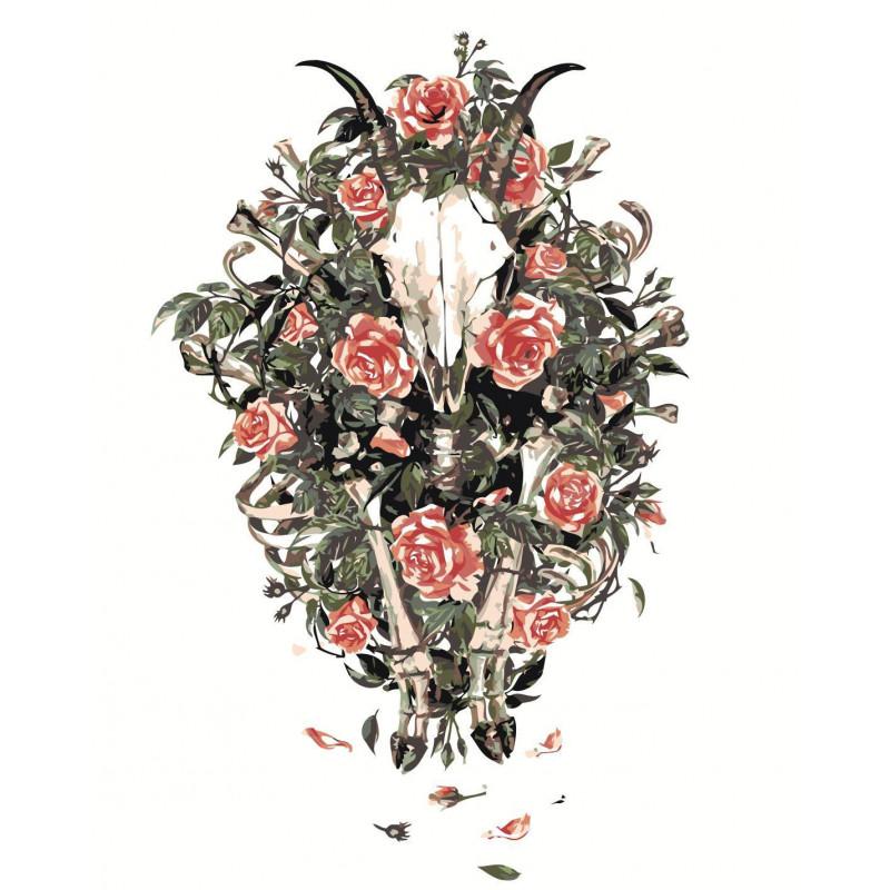 Череп животного с цветами Раскраска картина по номерам на ...