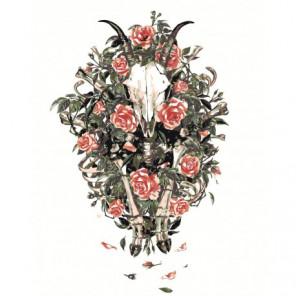 Череп животного с цветами 80х100 Раскраска картина по номерам на холсте
