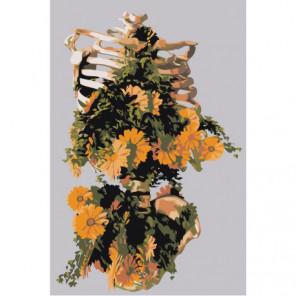 Скелет с букетом 80х120 Раскраска картина по номерам на холсте