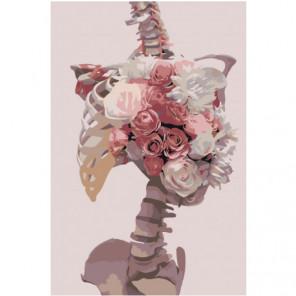 Скелет и розы 80х120 Раскраска картина по номерам на холсте