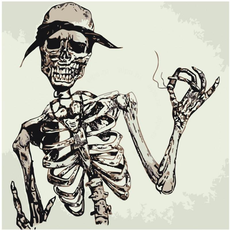 Скелет в шляпе Раскраска картина по номерам на холсте Z ...