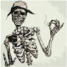Скелет в шляпе 80х80 Раскраска картина по номерам на холсте