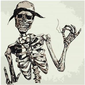 Скелет в шляпе 100х100 Раскраска картина по номерам на холсте