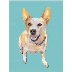 Собака на голубом фоне 75х100 Раскраска картина по номерам на холсте