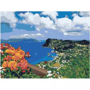 Цветы на берегу морской бухты 75х100 Раскраска картина по номерам на холсте