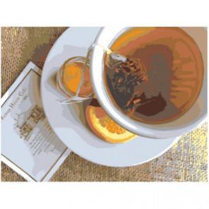 Чай с лимоном 60х80 Раскраска картина по номерам на холсте