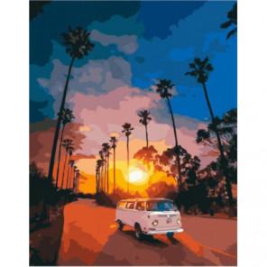 Автобус на закате Раскраска картина по номерам на холсте