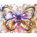 Разноцветная бабочка Раскраска картина по номерам на холсте