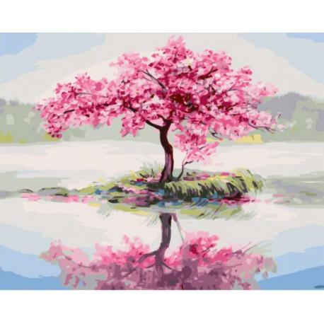 Цветущее дерево посреди озера Раскраска картина по номерам ...