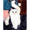Белая кошка Раскраска картина по номерам на холсте