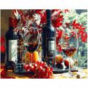 Красное вино Раскраска картина по номерам на холсте