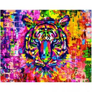 Цветной тигр Раскраска картина по номерам на холсте
