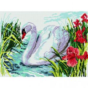 Белый лебедь на пруду Алмазная мозаика вышивка Painting Diamond