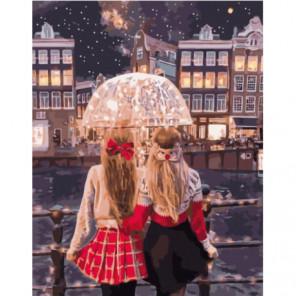 Подружки на новогодней прогулке Раскраска картина по номерам на холсте