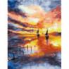 Парусные лодки на закате Раскраска картина по номерам на холсте