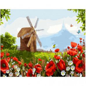 Деревянная мельница Раскраска картина по номерам на холсте