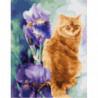 Рыжий кот и ирисы Раскраска картина по номерам на холсте