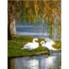 Лебеди под ивой Раскраска картина по номерам на холсте