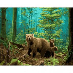 Медведица с потомством Раскраска картина по номерам на холсте
