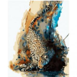 Акварельный леопард Раскраска картина по номерам на холсте