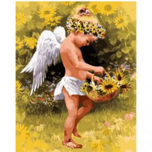 Ангел с корзинкой подсолнухов Раскраска картина по номерам на холсте